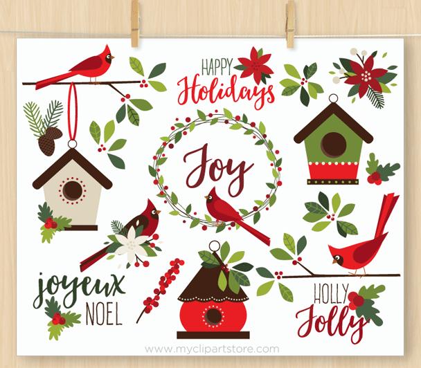 Christmas Cardinals Clipart.Christmas Red Cardinals Clipart