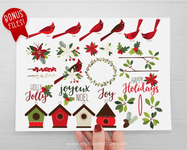 Christmas Cardinals Clipart