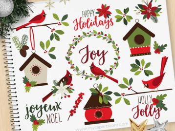 Christmas Cardinals Clipart