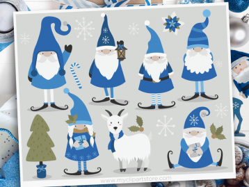Winter Gnomes Clipart