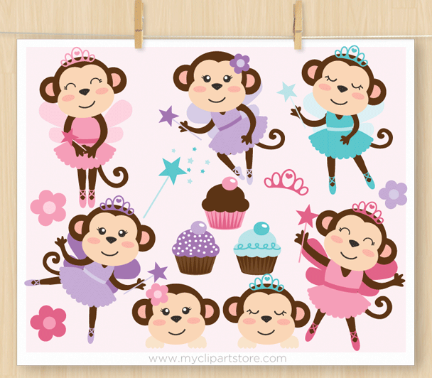 Monkey Ballerinas Vector Clipart