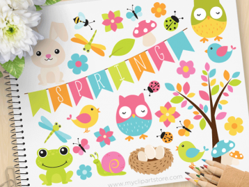 Spring Animals Vector Clipart