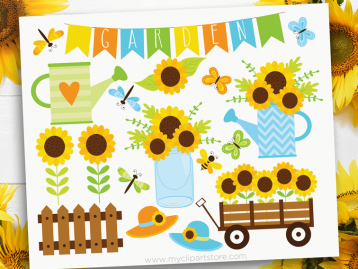 Sunflower Garden Clipart