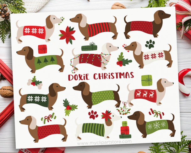 Christmas Doxies Clipart