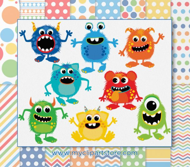 Fluffy Monsters Boy Vector Clipart