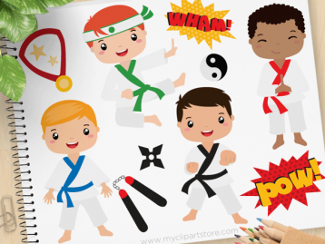 Karate boys Clipart