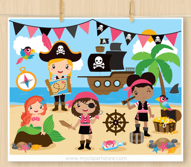 Girl Pirates Vector Clipart