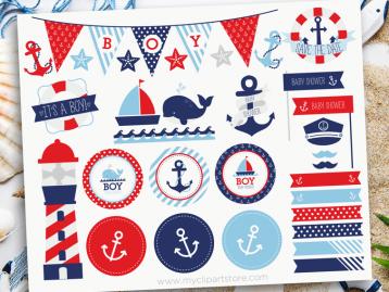 Sail Away Baby Boy Clipart