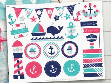 Sail Away Baby Girl Clipart