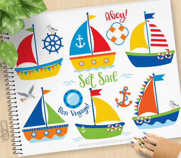 Sailboats Vector Clipart