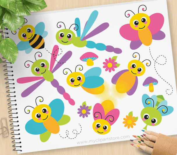 Flying Bugs Vector Clipart