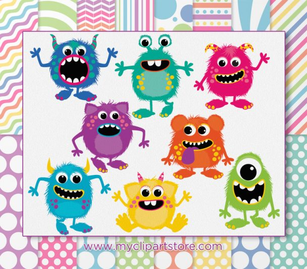 Fluffy Monsters Girl Vector Clipart