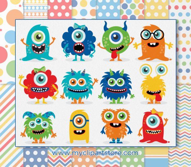 Monster Friends Vector Clipart