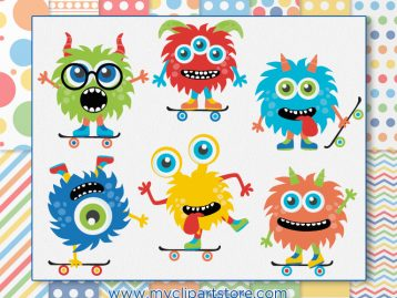 Monster Skaters Clipart