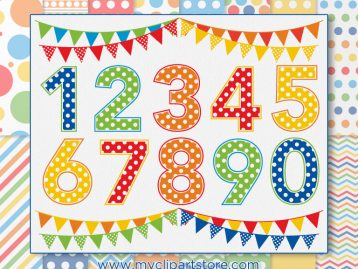 Polkadot Numbers Primary Combo