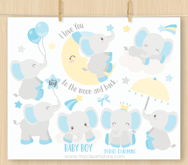 Baby Boy Elephants Vector Clipart