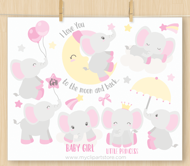 Baby Girl Elephants Vector Clipart
