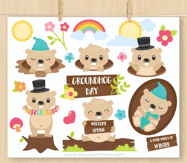 Groundhog Day Clipart Premium Design By Myclipartstore