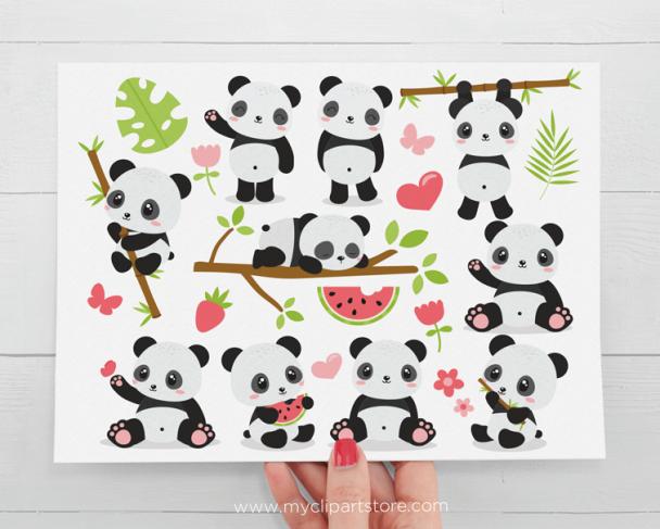 Panda Bears Clipart
