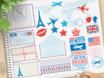 Postal Air Mail Clipart