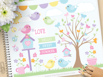 Song Birds Vector Clipart