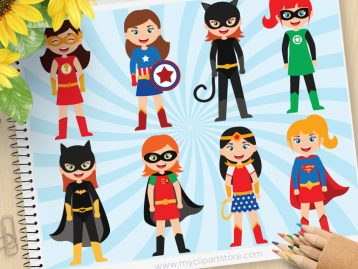 Superhero Girls Vector Clipart