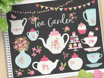 Tea Garden Vector Clipart