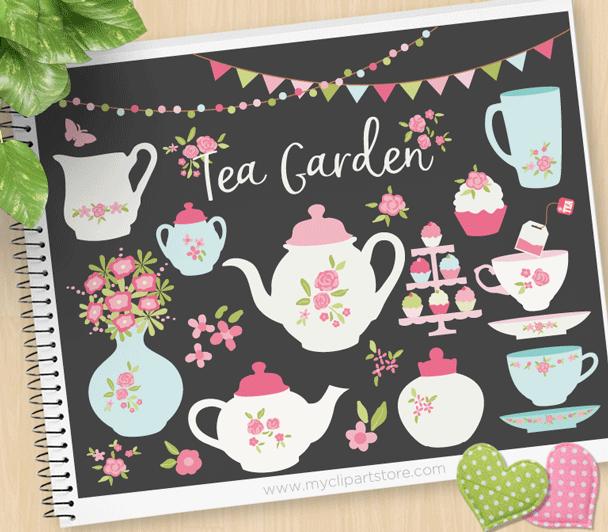Tea Garden Vector Clipart