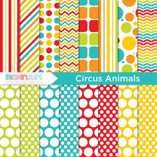Circus Animals Digital Paper