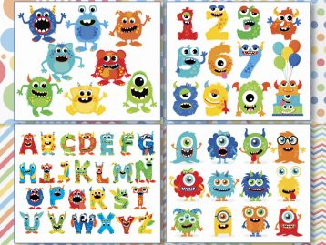 Monsters Boy Clipart Bundle