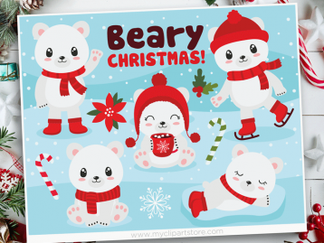 Beary Christmas Vector Clipart