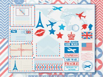 Postal Air Mail Clipart Combo