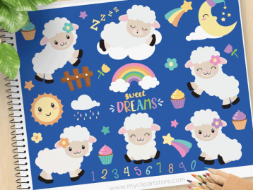 Counting Sheep Vector Clipart