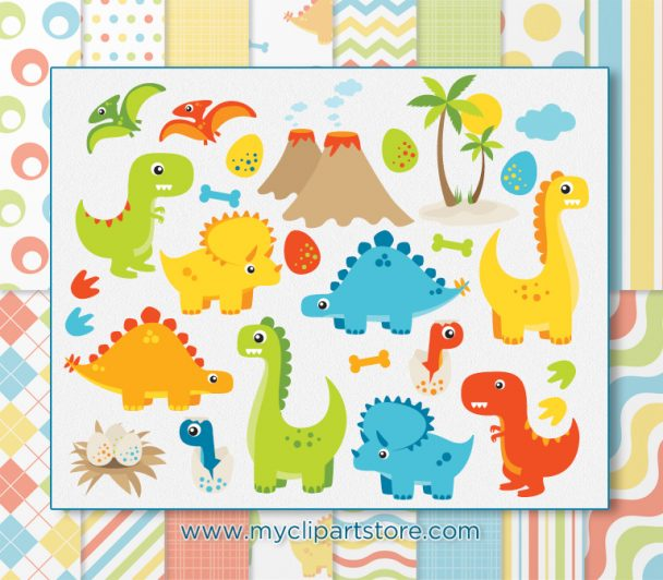Dinosaur Fun Boy Vector Clipart
