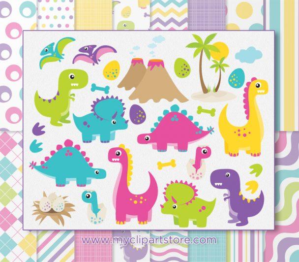 Dinosaur Girls Vector Clipart