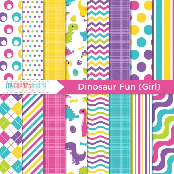 Dinosaur Girls Digital Paper