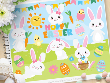 Hoppy Easter Vector Clipart