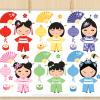 Kokeshi Dolls Vector Clipart