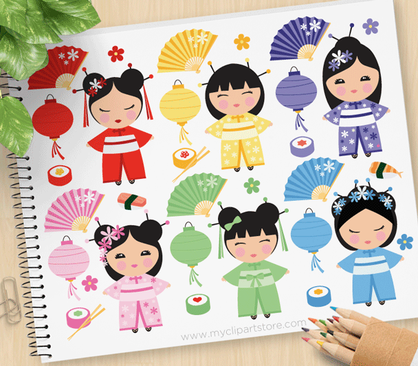 Kokeshi Dolls Vector Clipart