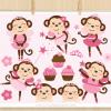 Monkey Ballerina Pink Vector Clipart