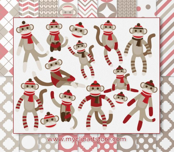 Sock Monkeys Clipart Combo