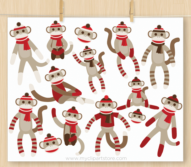 Sock Monkeys Clipart