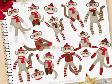 Sock Monkeys Clipart