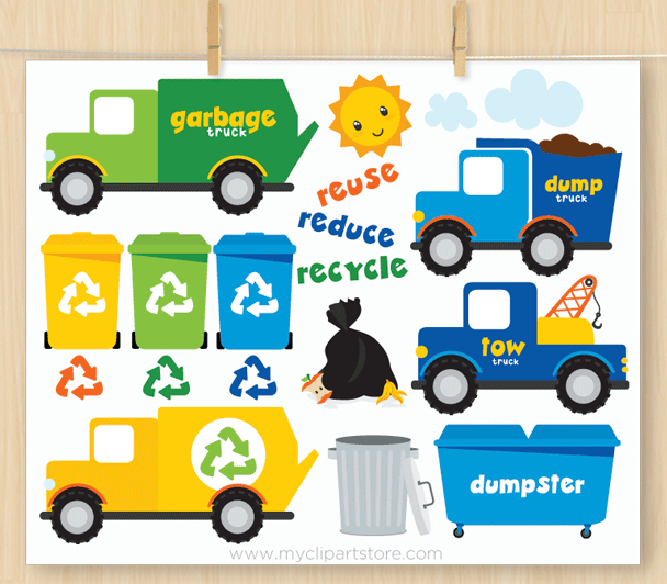 Recycle Vehicles Vector Clipart