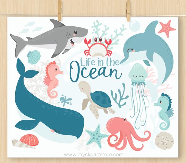 Ocean life Vector Clipart