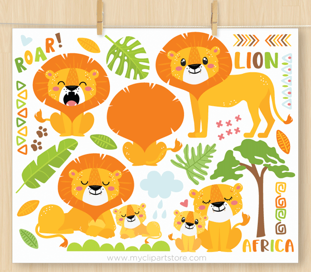 Lions Vector Clipart with