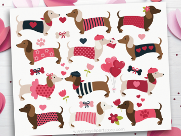Valentine Doxies Clipart
