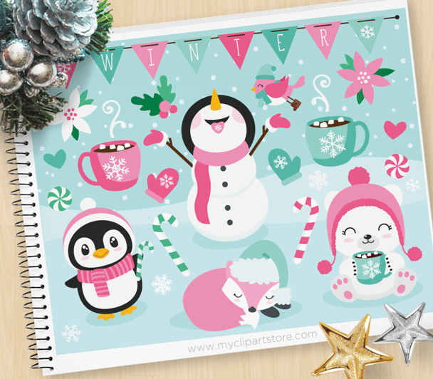 Frosty Friends Vector Clipart