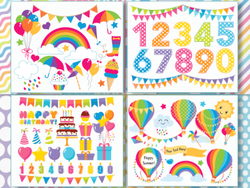 Birthday Party Rainbow Vector Clipart, Big Bundle