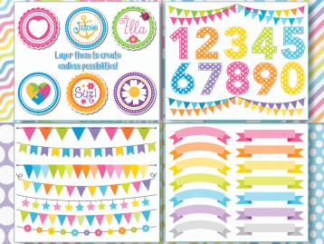 Rainbow Party Vector Clipart Bundle